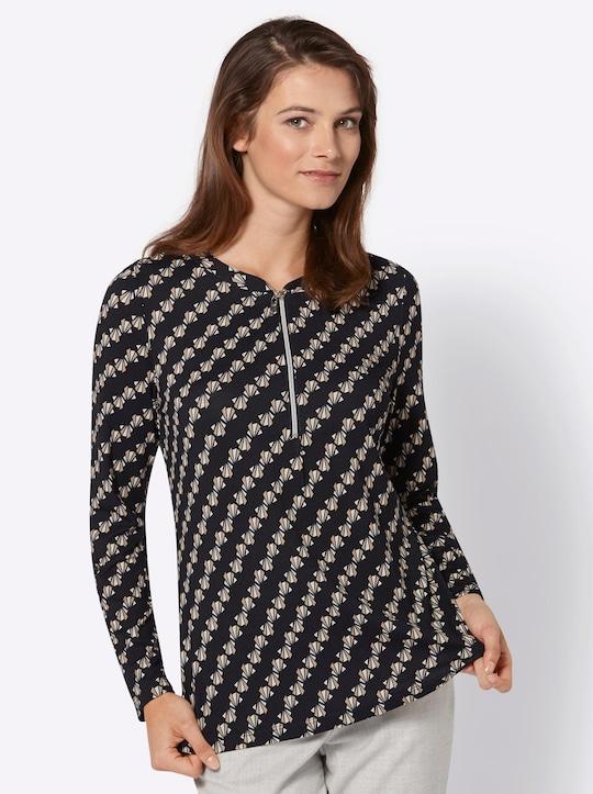 Shirt - schwarz-camel-bedruckt
