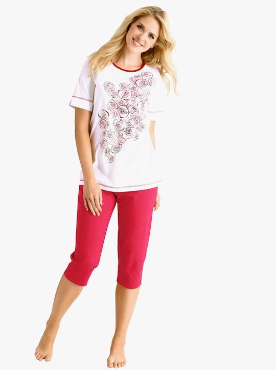 Capri-Schlafanzug - rot-weiß-bedruckt
