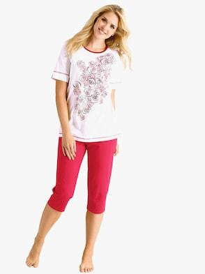 Capri-pyjama - rood/wit geprint