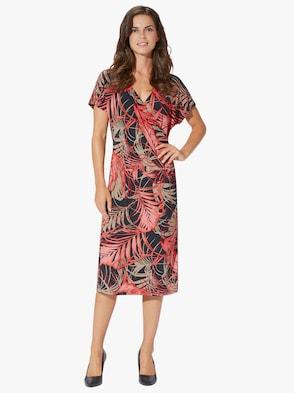 Jersey-Kleid - koralle-schwarz-bedruckt
