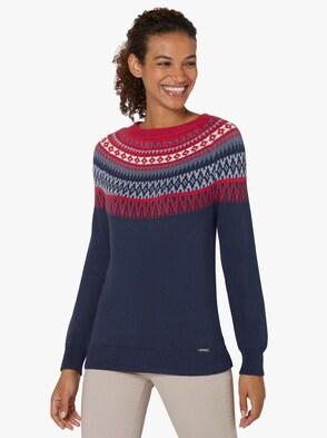 Pullover - marine-rot-gemustert