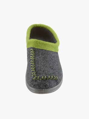 Pantoffel - anthrazit-grün
