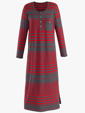 Nachthemd - grau-rot-geringelt