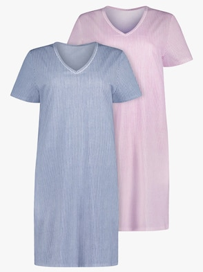 Sleepshirts - erika-gestreift + blau-gestreift