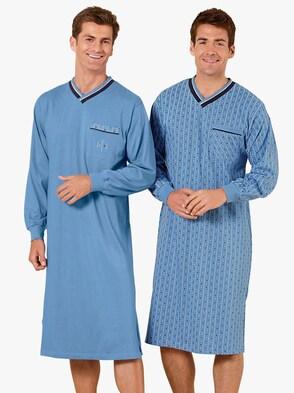 Langarm-Nachthemden - blau