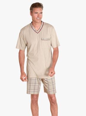 Krátké pyžamo - béžová-potisk