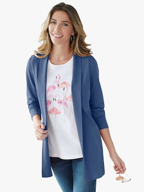 Long-Shirtjacke - jeansblau