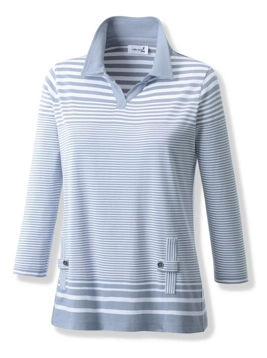 Collection L Shirt - rauchblau-weiß-gestreift