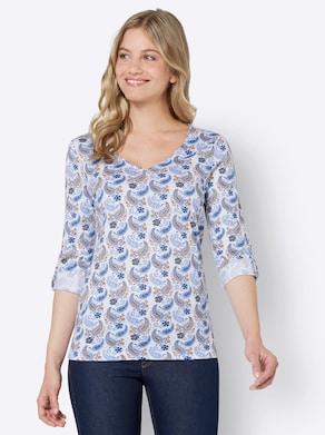 Shirt - camel-himmelblau-bedruckt