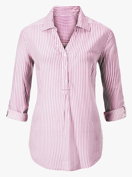 Gestreepte blouse - bessenrood gestreept