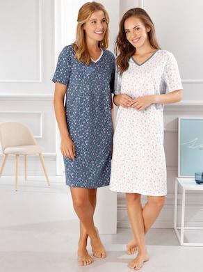 Nachthemd - weiß + blau-gemustert