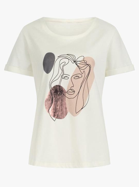 Shirt - ecru-anthrazit-bedruckt