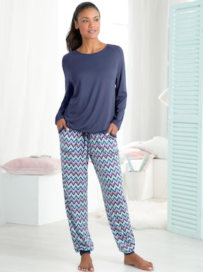 Schlafanzug - marine-gemustert