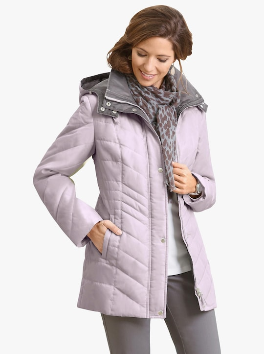 Prošívaná bunda - růžová-šedá