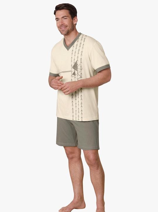 KINGsCLUB Krátké pyžamo - béžová-zelená