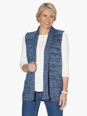 Pletená vesta - tmavomodrá melírovaná