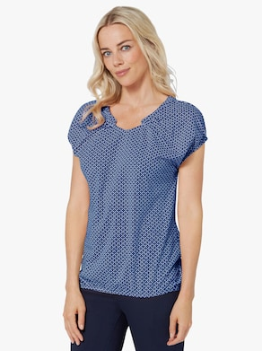 Tričko s krátkým rukávem - královská modrá-bílá-potisk
