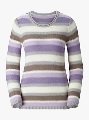 Pullover - lila-gestreift
