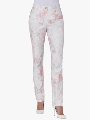 Hose - ecru-rosé-bedruckt