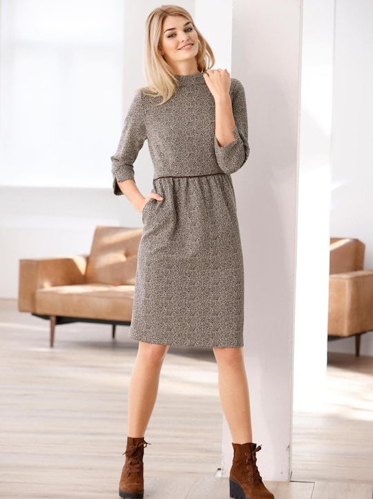 Linea Tesini Jacquard-Kleid - schoko-camel-bedruckt