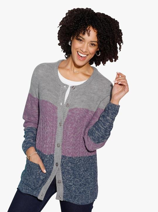 Pletený kabátek - šedá-fialová-melír