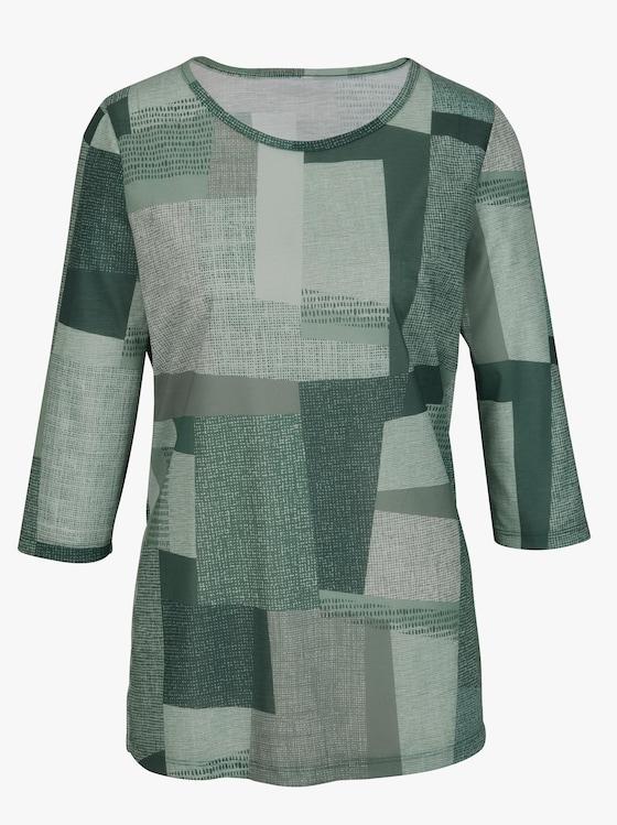 Lang shirt - groen gedessineerd