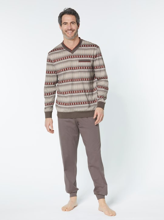 KINGsCLUB Schlafanzug - taupe-gemustert