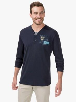 Langarm-Shirt - jeansblau