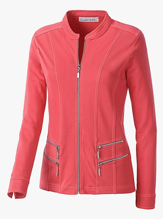 Collection L Shirtjacke - korallenrot