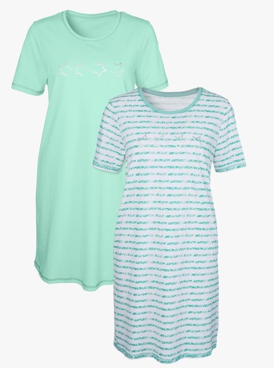 wäschepur Sleepshirts - mint + mint-gestreift