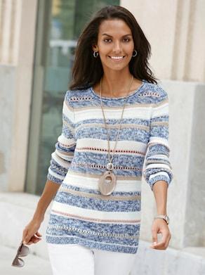 Pullover - blau-ecru-gestreift