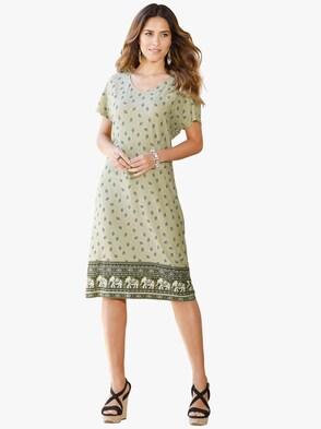 Jersey-Kleid - khaki-bedruckt
