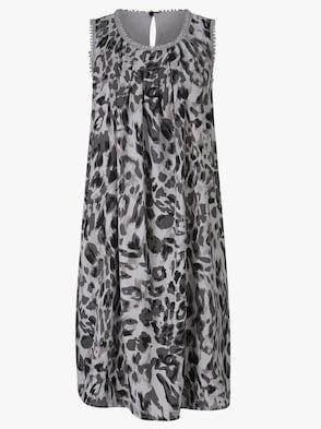 Kleid - grau-gemustert
