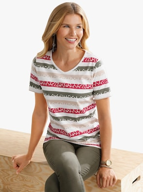Shirt - kaki/rood gestreept