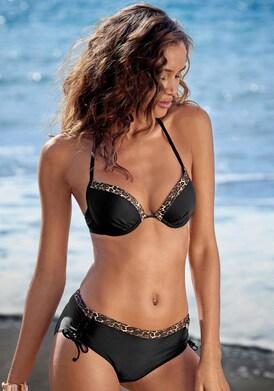 LASCANA Push-Up-Bikini-Top - schwarz-leo