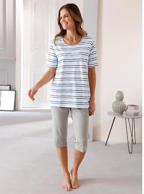 Capri-Schlafanzug - grau-bedruckt