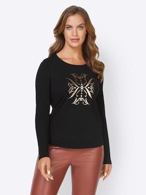Ashley Brooke Shirt - schwarz-bedruckt