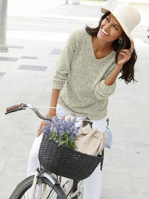 Collection L Pullover - groen gemêleerd