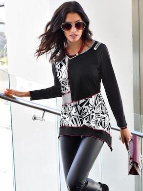 Shirt - schwarz-weiß-gemustert