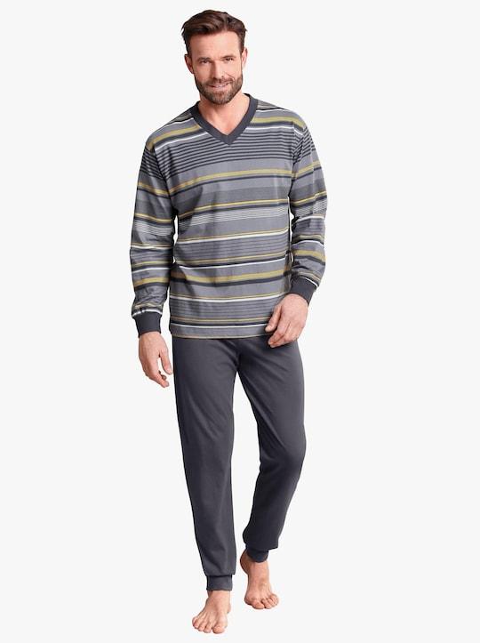 Top Ten Schlafanzug - anthrazit-geringelt