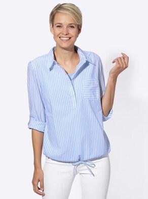 Bluse + Top - blau-weiß-gestreift
