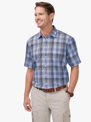 Kurzarm-Hemd - blau-kariert