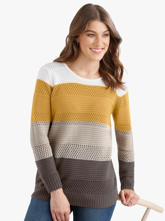 Pullover - bruin/kerrie gestreept