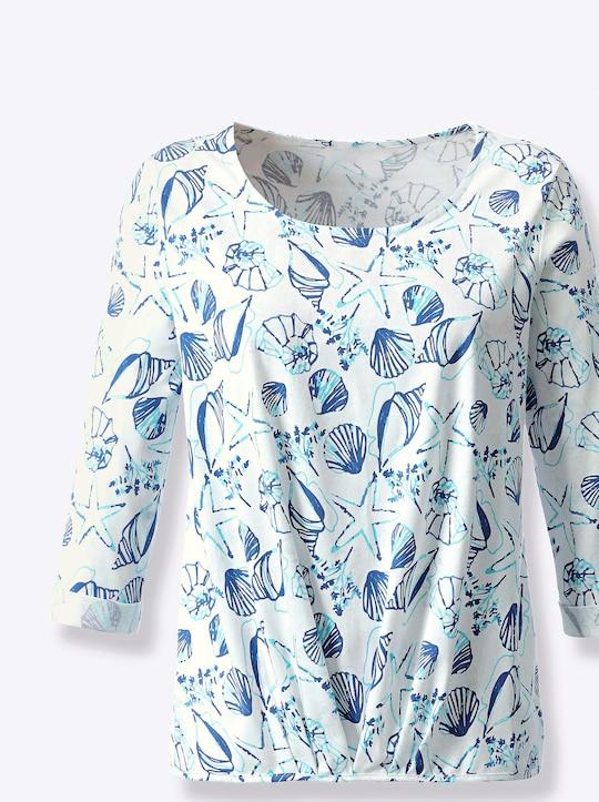 Shirt - jeansblau-ecru-bedruckt