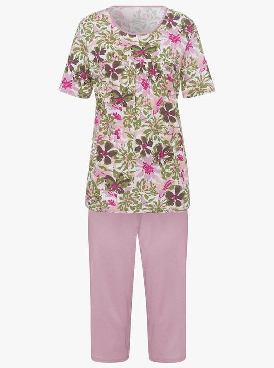 Capri-pyjama - oudroze geprint