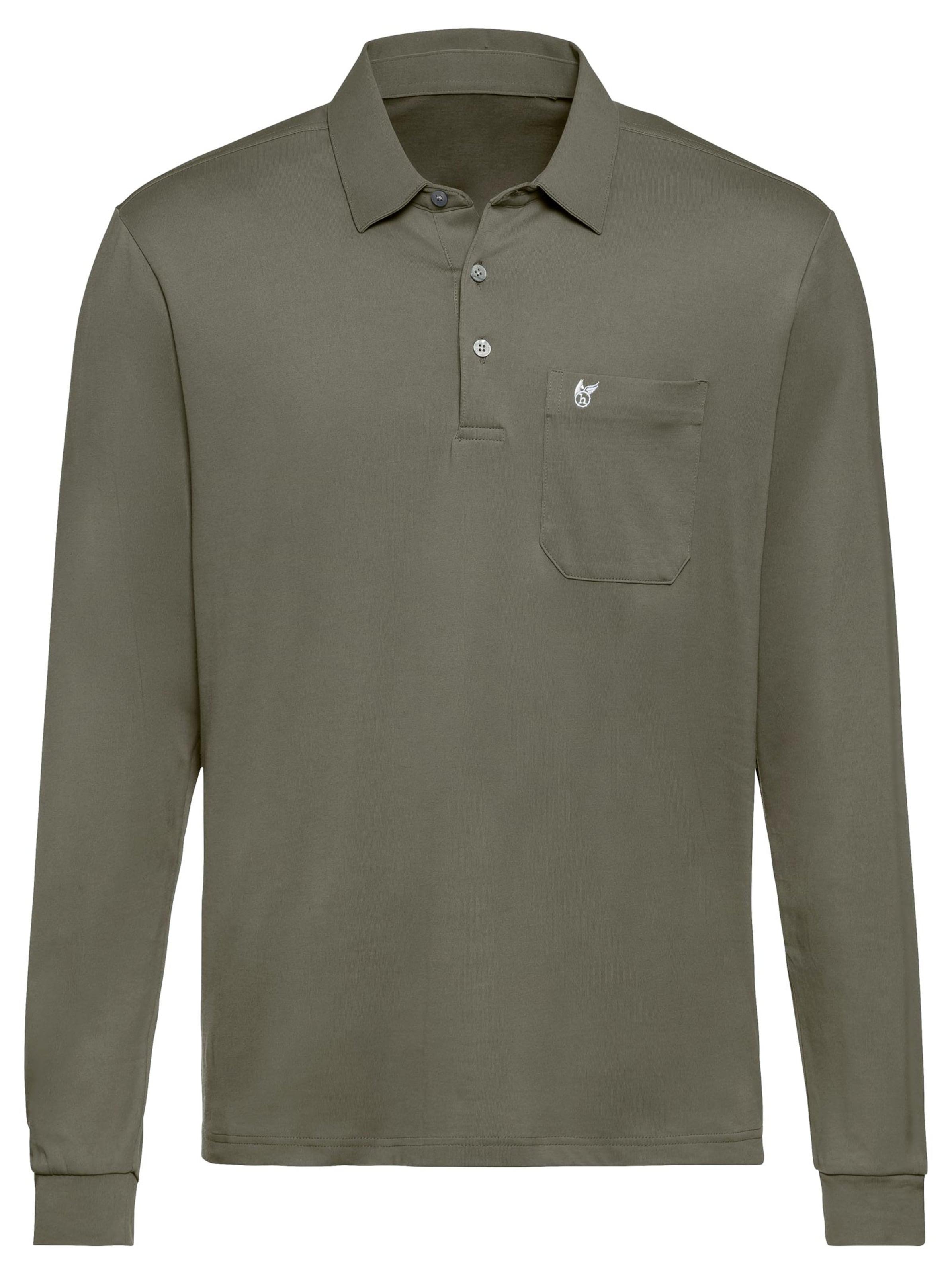 hajo - Witt Weiden Herren Langarm-Poloshirt khaki