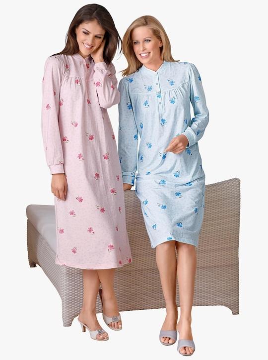 Ascafa Langarm-Nachthemden - rosé + bleu