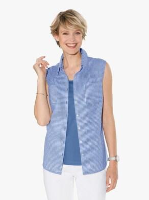 Mouwloze blouse - korenbloem geruit