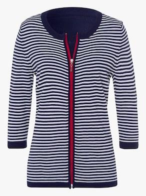 Pletený kabátek - námořnická modrá-bílá-proužek