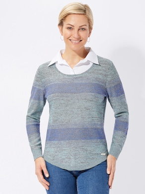 Collection L Pullover - blau-meliert